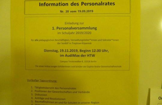 Personalversammlung der Pädagogen am 19.11.2019
